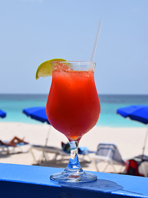 rum punch at tropical sunset restaurant on anguilla shoal bay