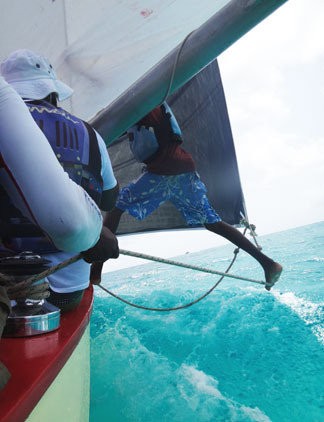 extending the jib on sail boat viking