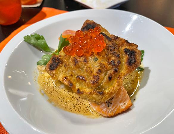 Half-cooked Salmon with Sea Scallops Ravioli at Bacchus