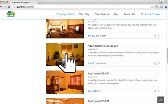 sample apartment listings on squareless