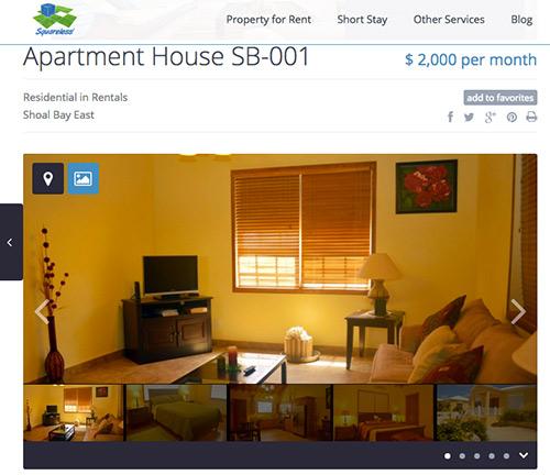 sample apartment listing on squareless