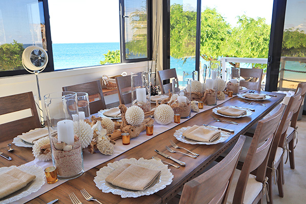 Dining table at Sand Castle: The Beach House