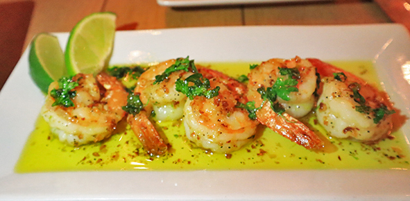 Sauteed prawns at SandBar