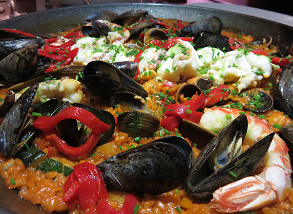 seafood paella at the yacht club