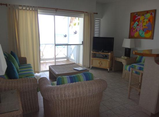 second floor living room at shoal bay villas hotel