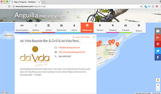 clicking on a point of interest on skyviews online map of anguilla