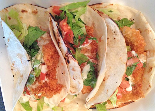 crispy fish tacos at sharpys
