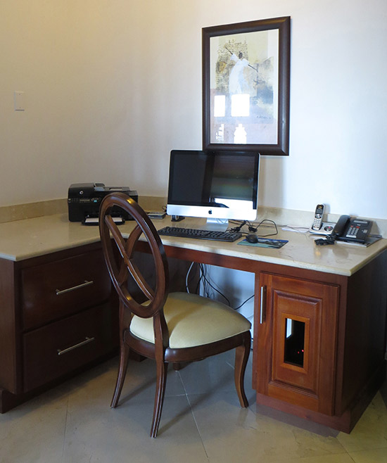 office space with printer and computer