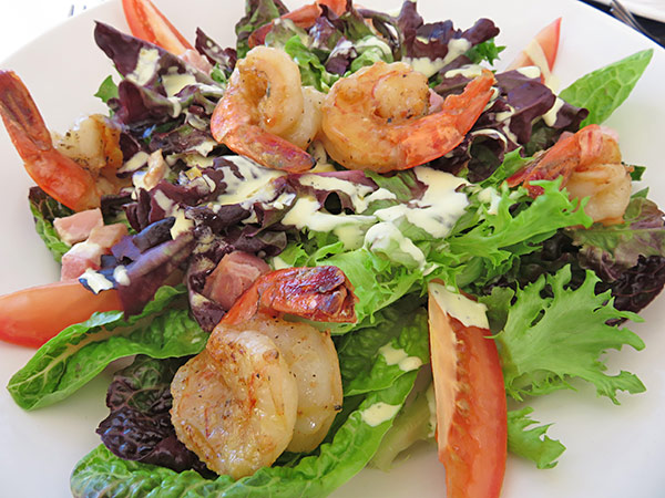 shrimp salad for lunch at covecastles