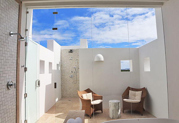 Outdoor Shower at Sky Villa, Long Bay Villas
