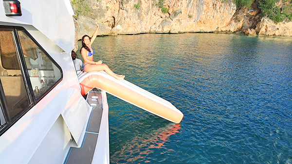 sliding into sunset at Little Bay with Rum & Reel Charters