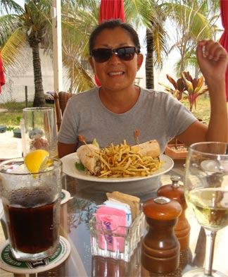 frangipani anguilla hotel straw hat lunch