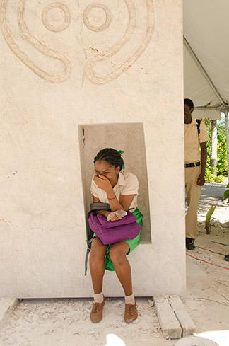 students at the first sculpture symposium in anguilla
