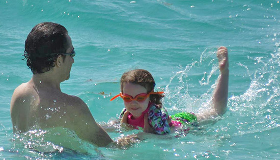 father and daughter in the water at rendezvous