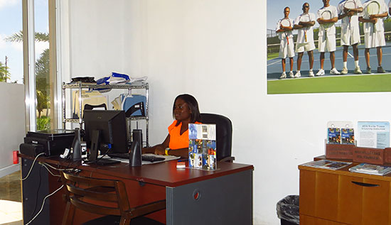 tamisha richardson working at the anguilla tennis academy