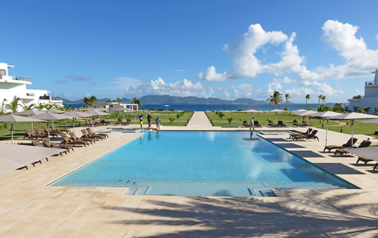 the reef by cuisinart pool with st. martin and caribbean sea in background
