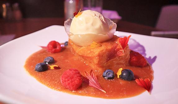 torrija and vanilla bean icecream at the yacht club
