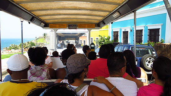 taking the tram in old san juan puerto rico