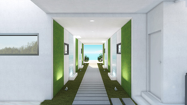 hallway separate the units at tranquility beach