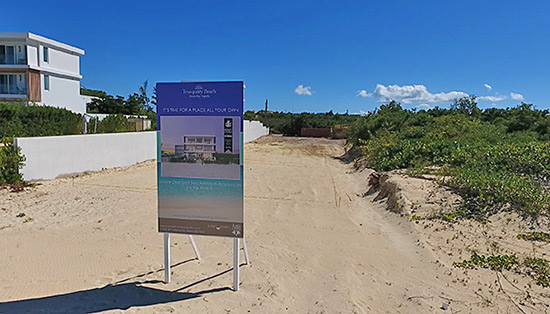new tranquility beach sign on meads bay