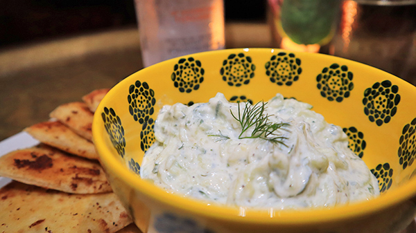 tzatziki and flat bread
