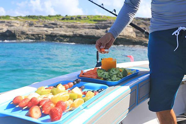 veggie platter with Anguilla Charters- Rum & Reel