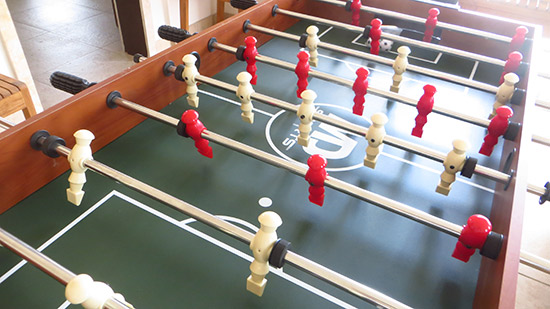 the foosball table in kiki villa