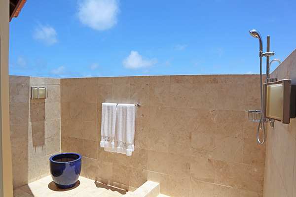 luxurious outdoor shower at villa soleil