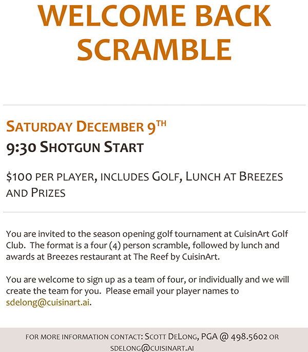 welcome back scramble cuisinart golf course