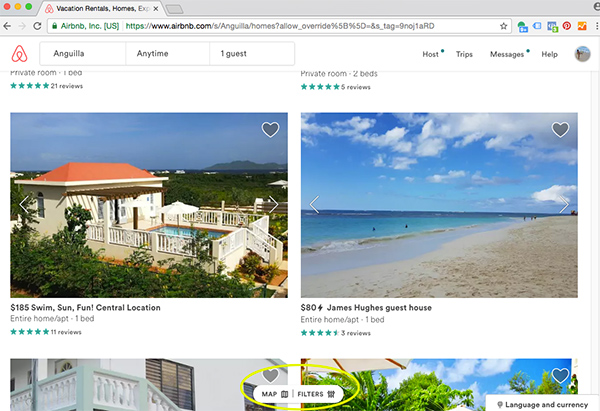 map and filter function on airbnb