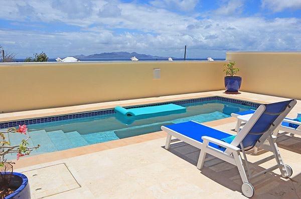 almond tree villa pool and lounge chairs