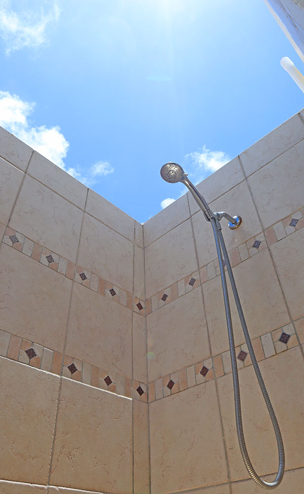almond tree villa outdoor shower