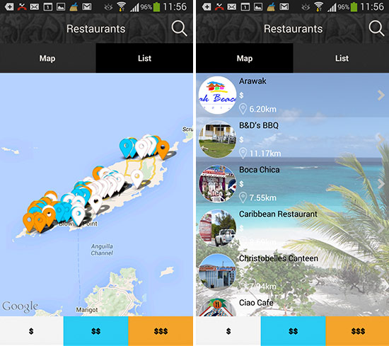 android map and list view