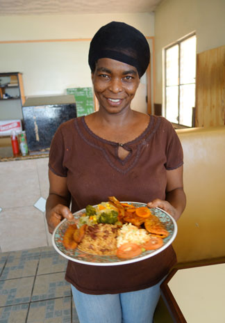 diane with scrumptious food at coconos