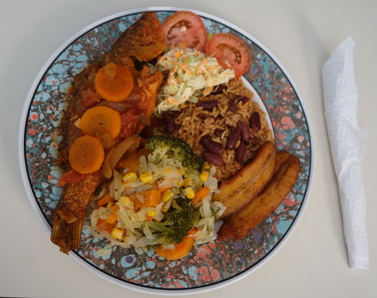 snapper and sides from coconos