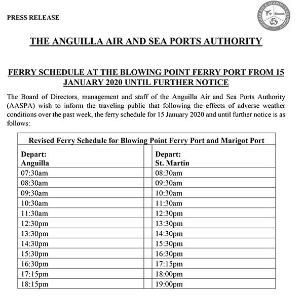 ferry schedule anguilla