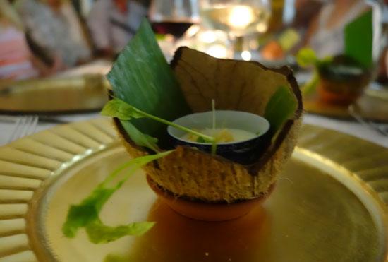 denise carr de chefs table course one coconut gazpacho