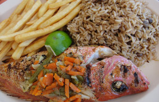 Anguilla restaurant, Johnno's, whole steamed snapper