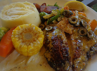 Anguilla food, Anguilla restaurants, Andy's Restaurant, kid-friendly, Anguilla lunch, Anguilla dinner, pan-seared grouper