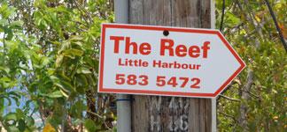 Anguilla restaurant, Karla's At De Reef, road sign