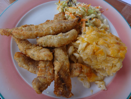 Natural Mystic fish fingers, macaroni pie and cole slaw