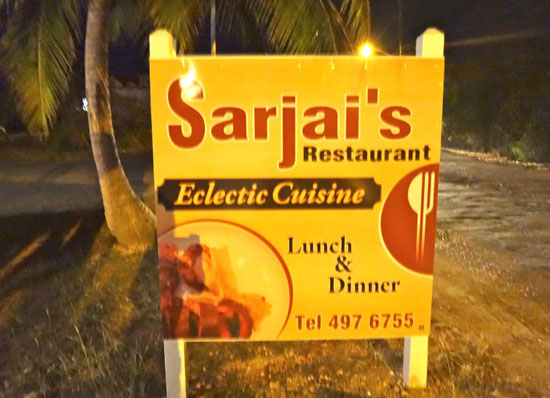 sarjais restaurant sign in anguilla