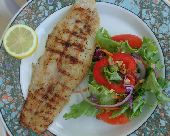 Anguilla restaurants, lunch, Shoal Bay, grilled snapper