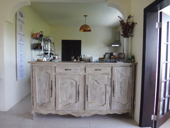 tea box lounge counter and menu