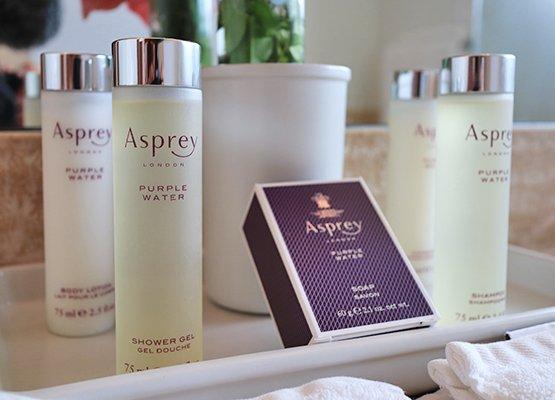 Asprey Toiletries, soap, conditioner, shampoo, shower gel and lotion