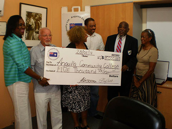 awarding the check to the college