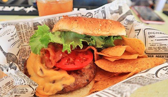 Bacon cheese burger at Olas Tacos Bar & Grill