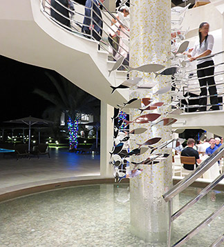 the stair case at the yacht club restaurant