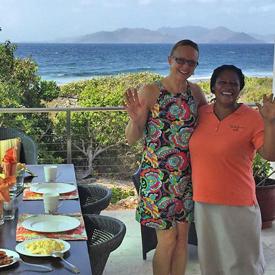 becky with heather on tequila sunrise villas terrace for breakfast