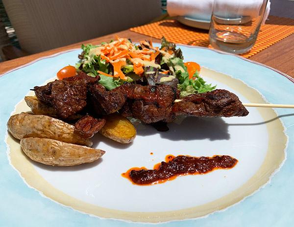 beef anticucho at belmond